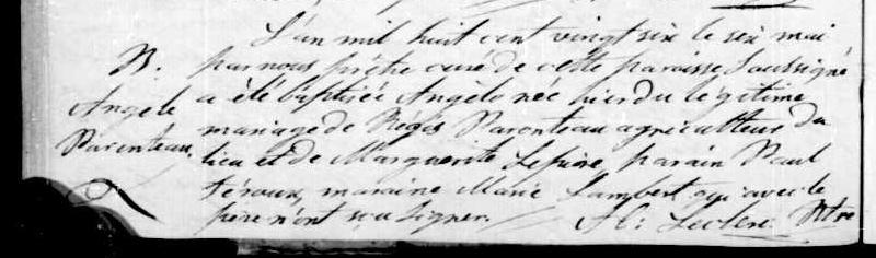The 1826 Yamaska Birth of Angele Parenteau