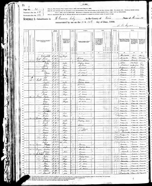 1880 Census for Peter Hall in Cannon City, MN
