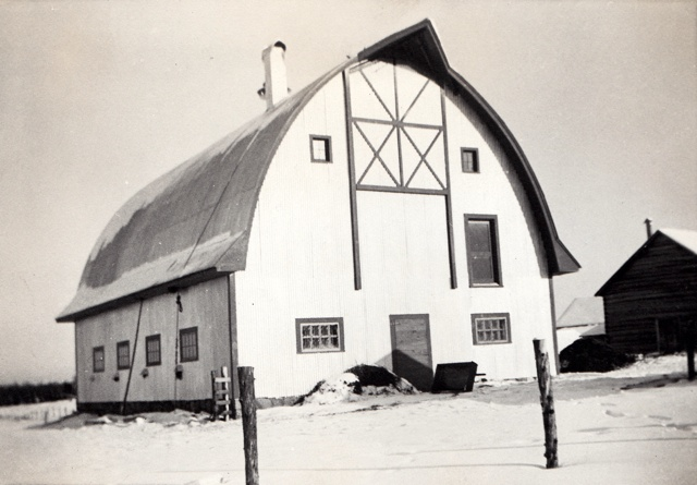 Pic of The cow barn & pole barn in 1938
