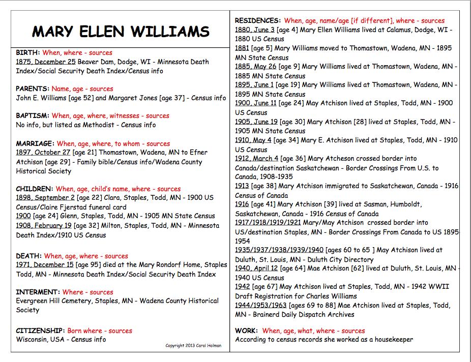 Mary Williams Fact Sheet